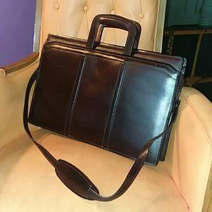 Top Grain Leather Briefcase Dark Mahogany Brown